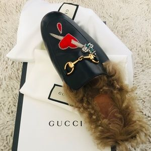 Gucci lion pierced heart Princetown loafer